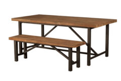 Industrial Teak Table and Bench